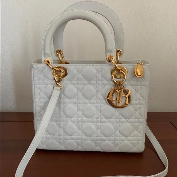 Dior Handbags - !SOLD! Dior lady Dior white medium